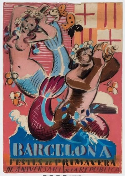 Projecte del cartell 'Festes de Primavera. III aniversari de la República', de Josep Obiols (1934