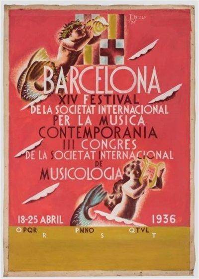 Projecte original del cartell 'Festival de Musicologia', de Josep Obiols (1936)