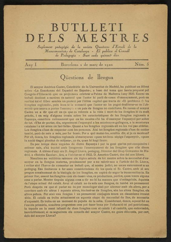 'Butlletí dels Mestres'