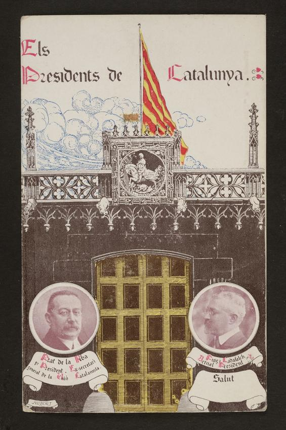 Postal amb els dos presidents de la Mancomunitat de Catalunya: Enric Prat de la Riba i Josep Puig i Cadafalch