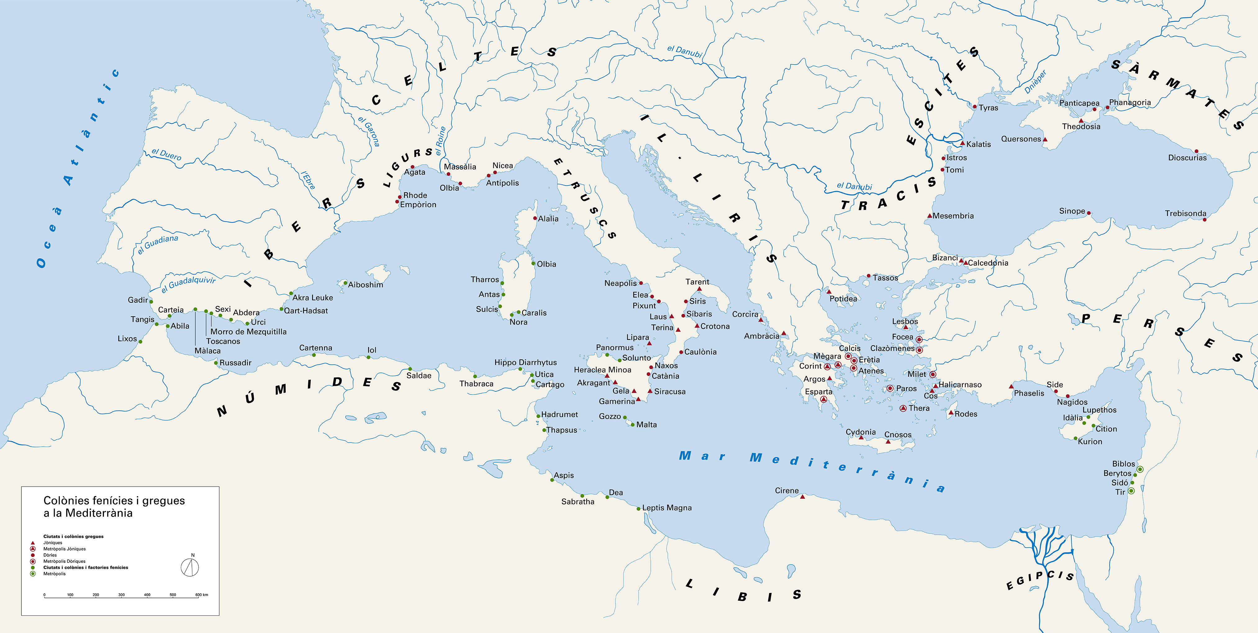 Map of Phoenician and Greek colonies