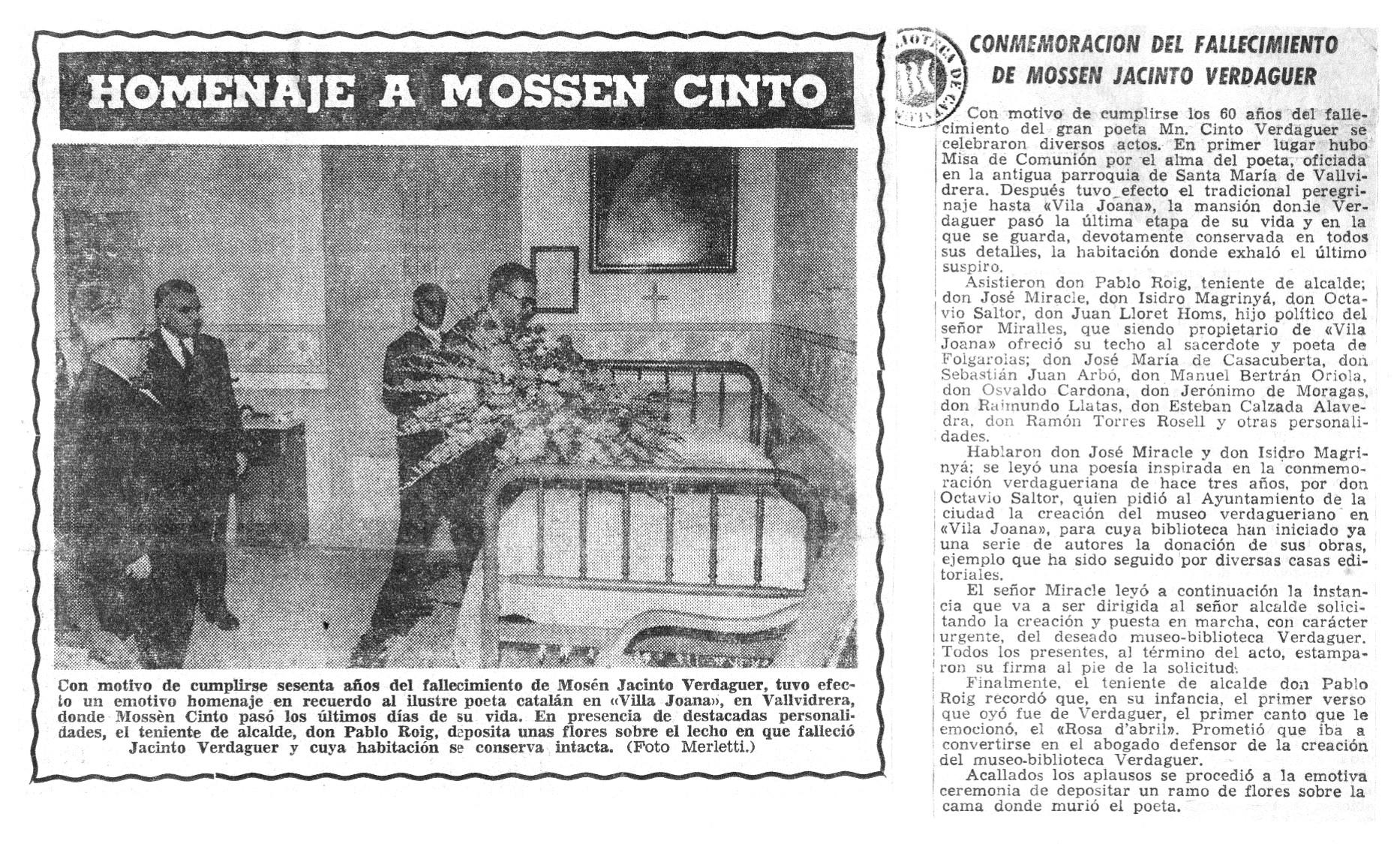 Retall homenatge a Mossen Cinto