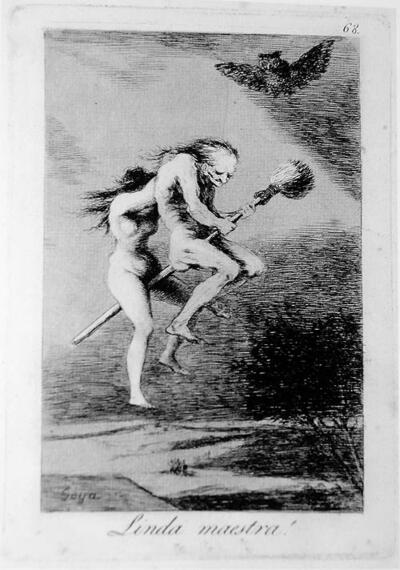 Gravat de Francisco Goya on apareixen dues dones despullades montades sobre una escombra. Una d'elles, ja entrada en la vellesa, és la que va davant. L'altra s'aguanta amb certa dificultat a l'escombra mentre s'agafa de l'esquena de la primera