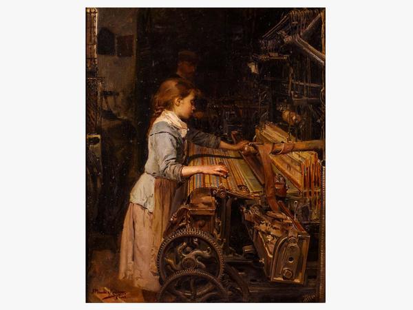 L'escena de l'obra: una nena treballa en un teler, mentre un home l'aguaita des del fons de l'escena